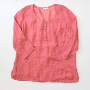 Eileen Fisher Button Linen Tunic Top Popover